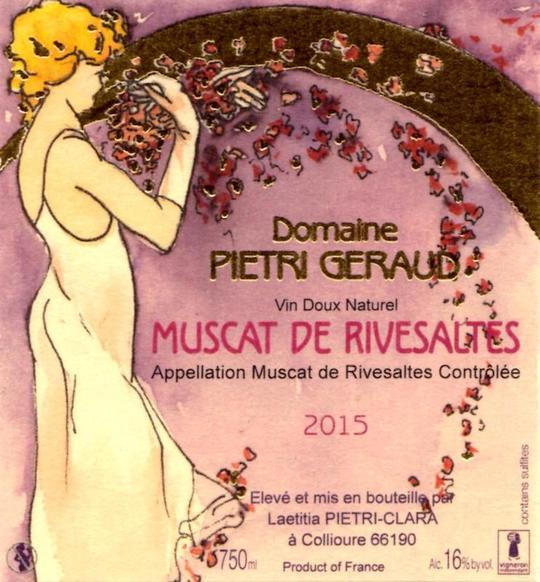 Etiquette - Muscat de Rivesaltes Domaine Piétri Géraud