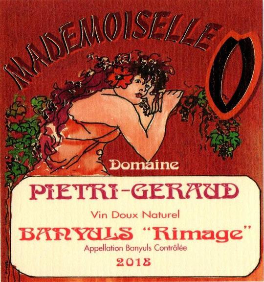 Etiquette Banyuls rimage Mademoiselle O Domaine Piétri Géraud