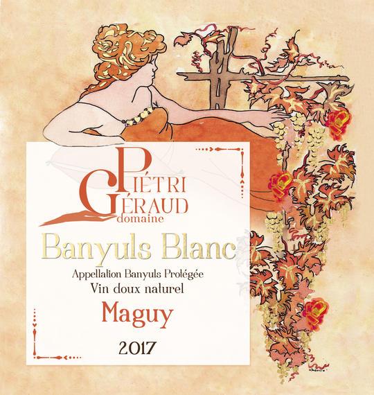 Etiquette Banyuls blanc Maguy Domaine Piétri Géraud